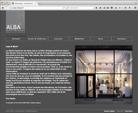realisation du site Internet de Alba Design
