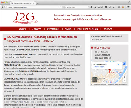 realisation du site Internet de i2g Communication