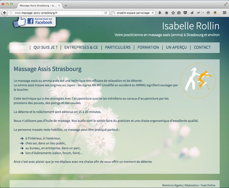 realisation du site Internet de Isabelle Rollin - Massage Assis Strasbourg